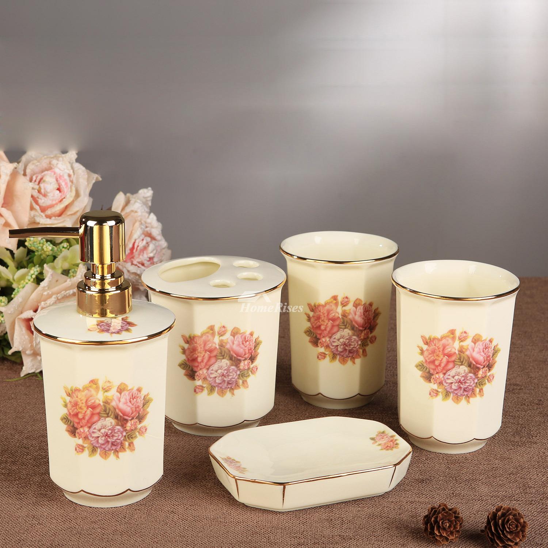 5 Piece Fl Bathroom Accessories Set, Flower Bathroom Sets
