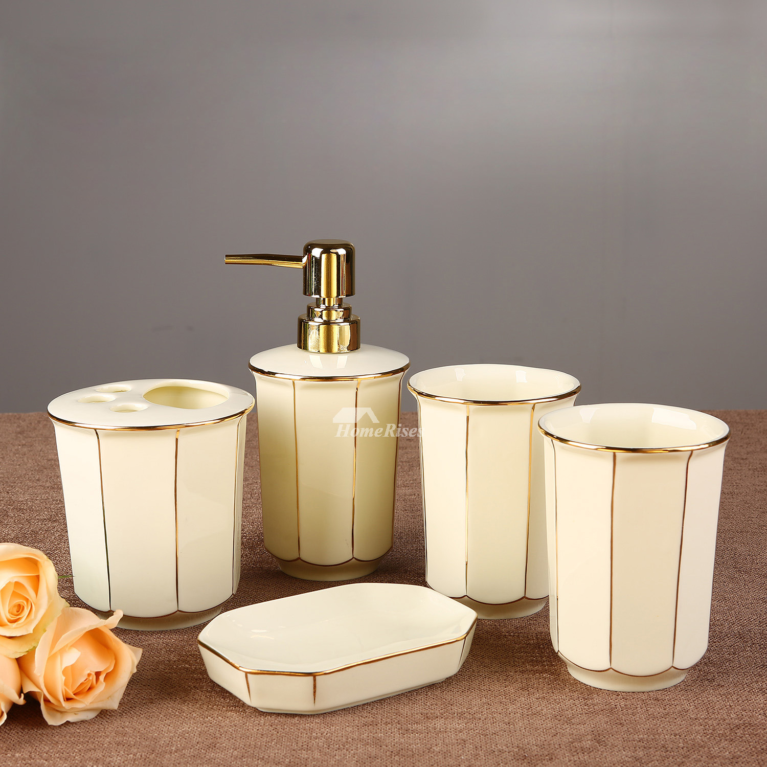 5 piece floral bathroom accessories set ceramic floral enamel for Ceramic bathroom accessories