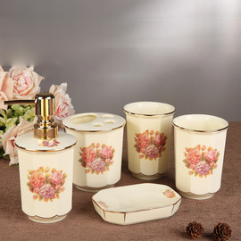 5 Piece Floral Bathroom Accessories Set Ceramic Floral Enamel