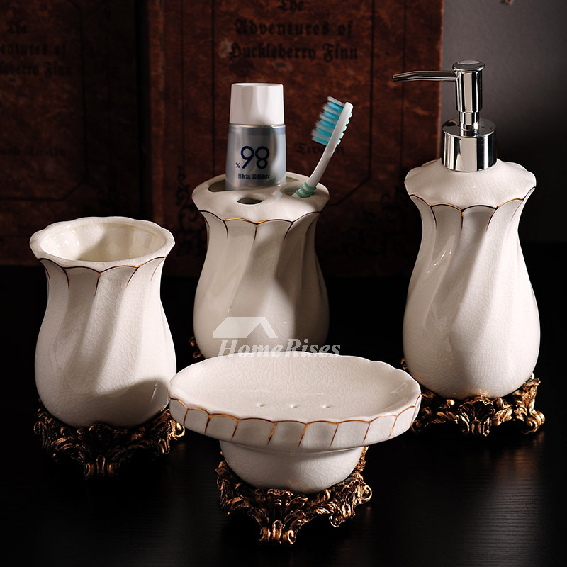 High end crack ceramic bathroom accessories set in white for Ceramic bathroom accessories