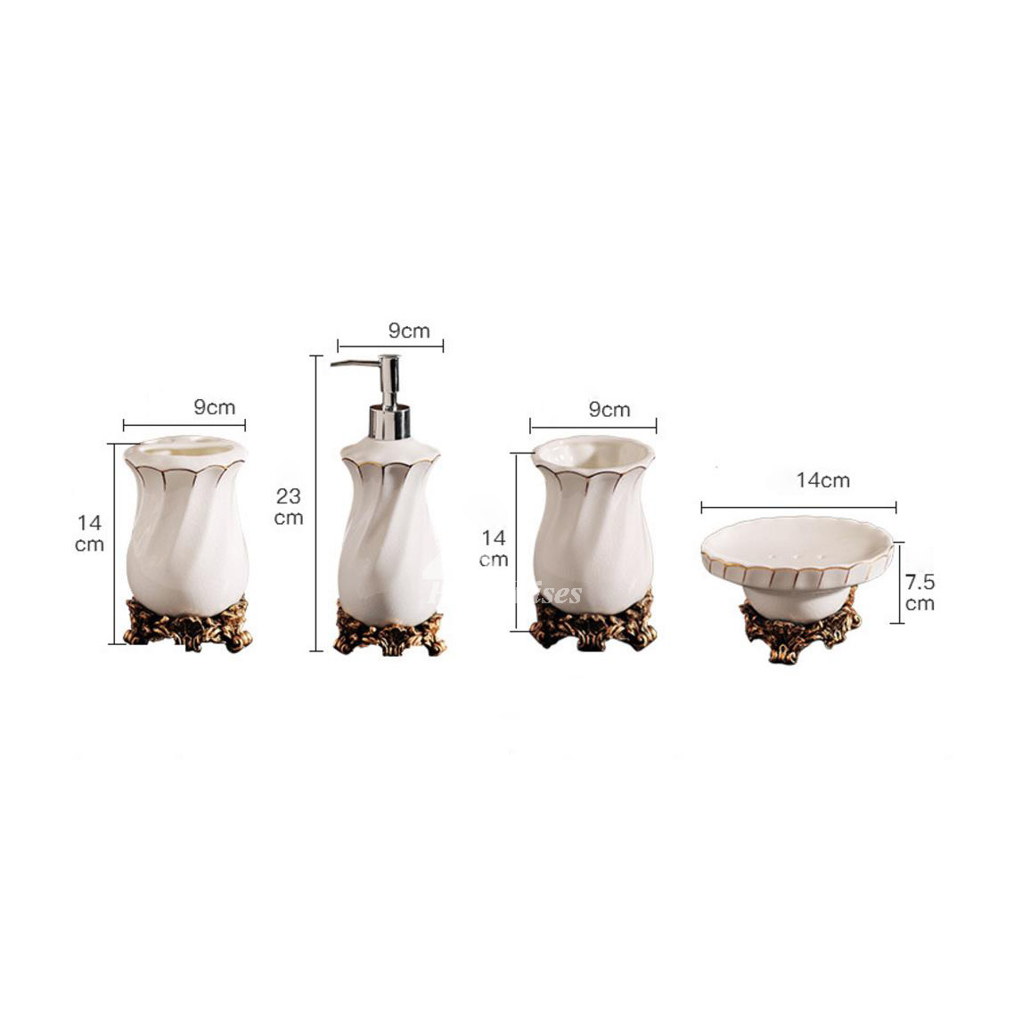 High end crack ceramic bathroom accessories set in white for Ceramic bathroom accessories sets