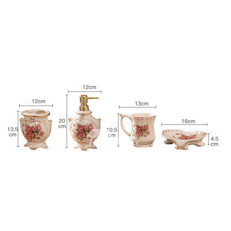 Exquisite 5 piece floral bathroom accessories set for Bathroom 5 piece set