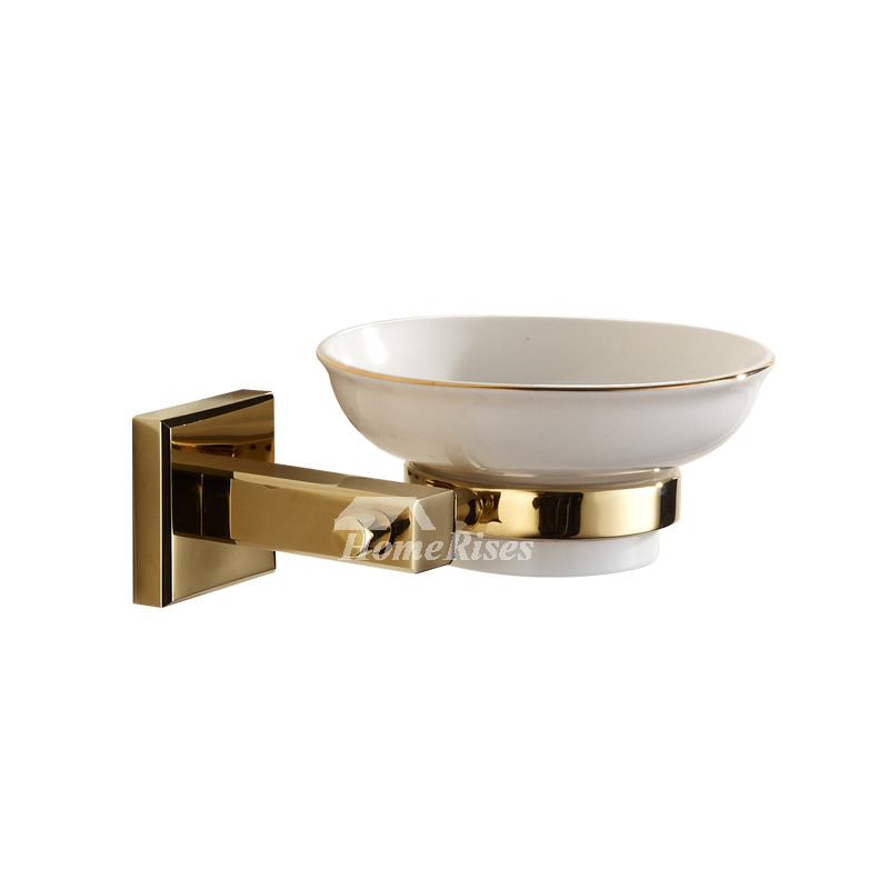 Polished brass ceramic soap dish wall mounted for bathroom - Wall mounted ceramic bathroom accessories ...