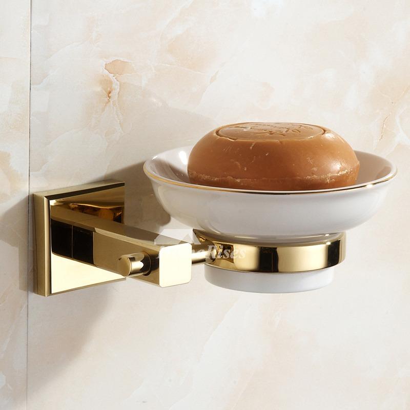 Polished brass ceramic soap dish wall mounted for bathroom - Ceramic soap dishes for bathrooms ...