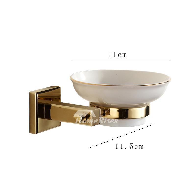 Polished brass ceramic soap dish wall mounted for bathroom Wall mounted soap dishes for bathrooms