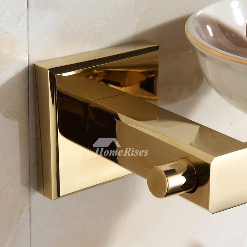 Polished brass ceramic soap dish wall mounted for bathroom for Wall mounted soap dishes for bathrooms