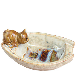 Funny Free Standing Painting Cat Shaped Ceramic Shower Soap Dish