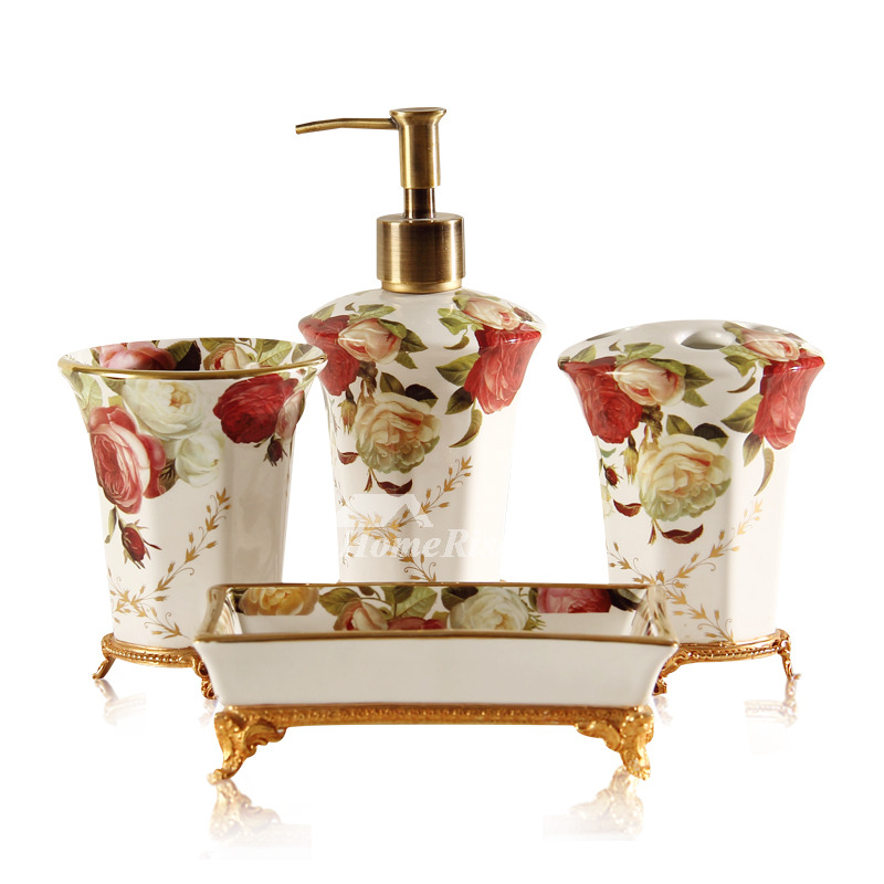 High end vintage bathroom accessories sets 5 piece for Vintage bathroom accessories
