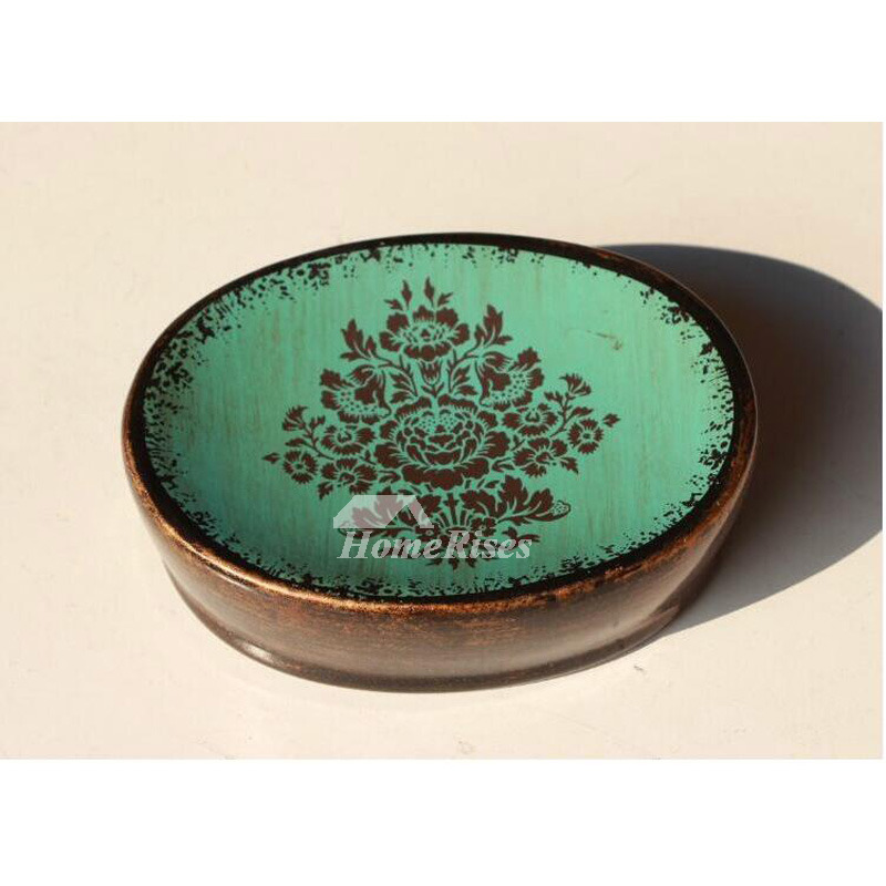 Round Shaped Vintage Ceramic Soap Dish Butterfly