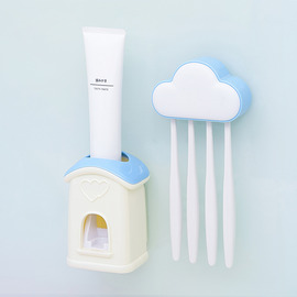 Stick On Toothbrush Holder Cloud Shaped With Toothpaste