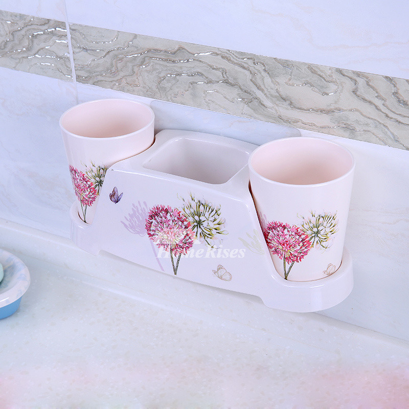 Suction cup resin bathroom accessories sets floral pattern for Floral bathroom accessories set