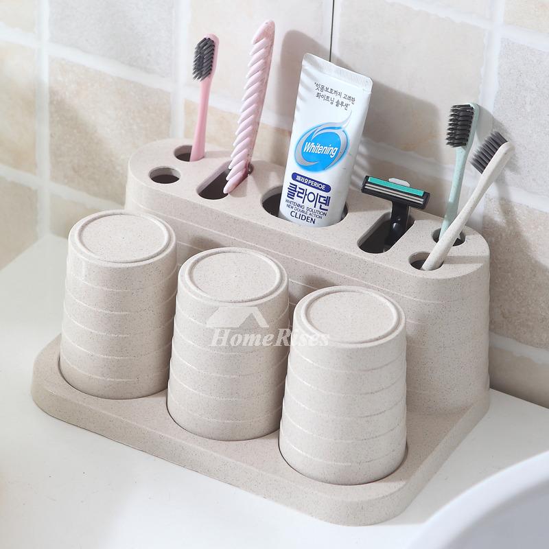 Free Standing Wheat Straw Fiber Pink Toothbrush Holder