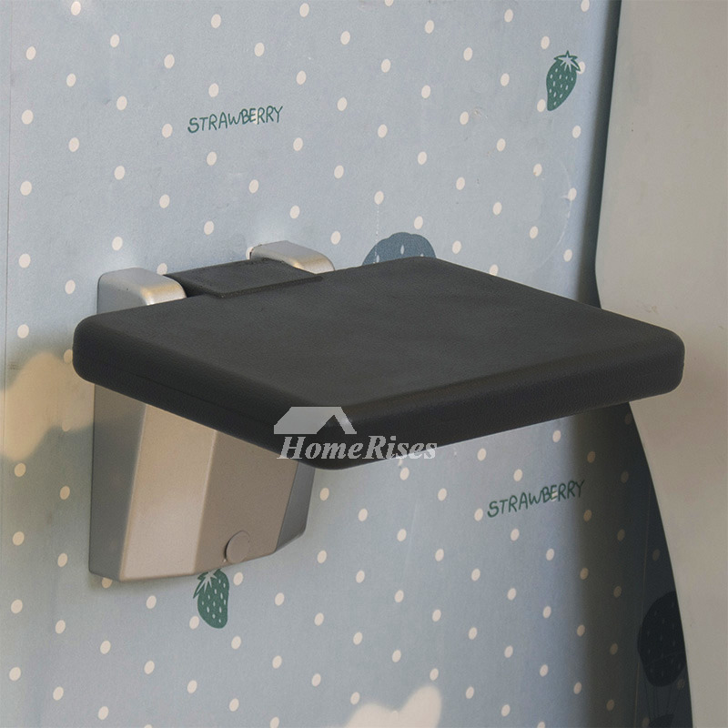 Quality Aluminum Alloy Wall Mount Black/Gray Fold Up Shower Seat