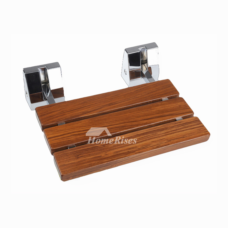 Solid Teak Folding Shower Seat Wall Mount Stainless Steel Base