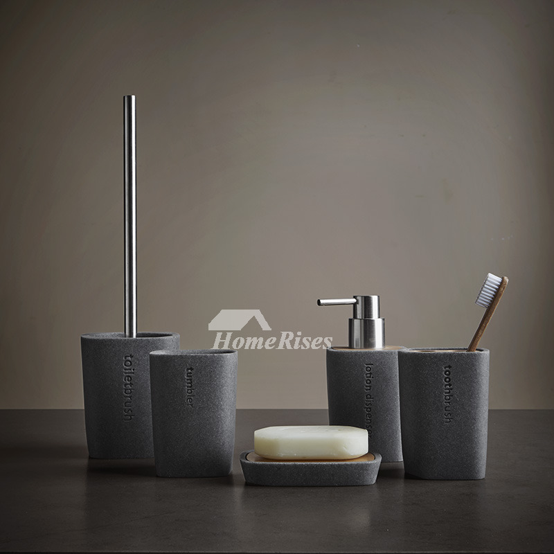 Gray Soap Dish Resin Rectangular Shaped Free Standing