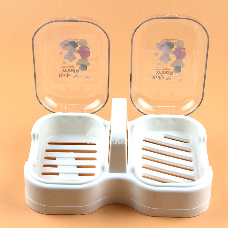 Portable Soap Dish Double Type White PP