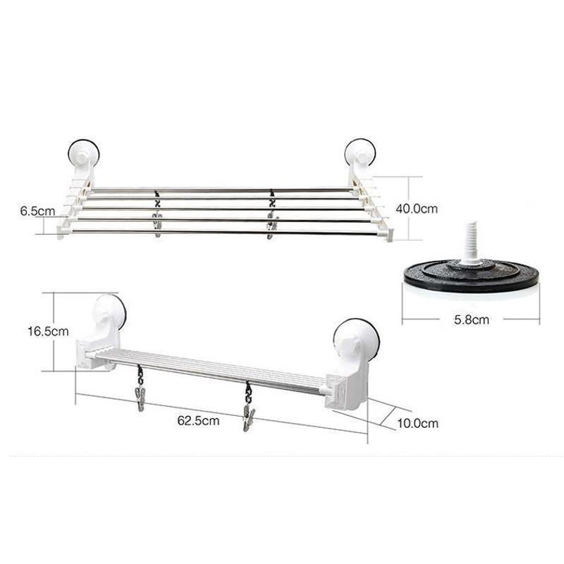Adjustable Towel Rack Stainless Steel Wall Mounted
