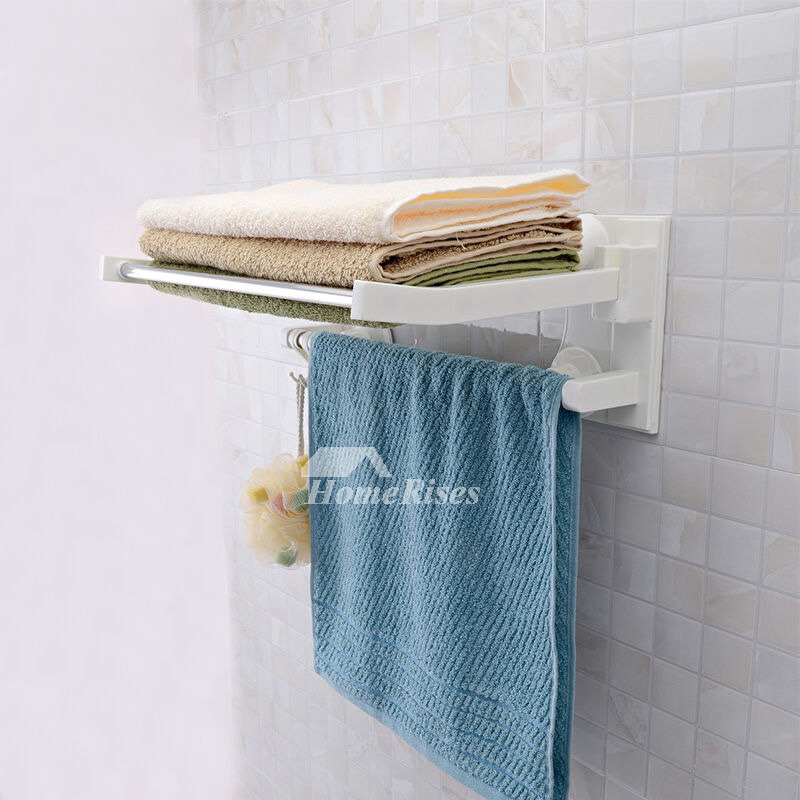Stainless Steel Towel Rack Double Layer Suction Cup Folding Plastic