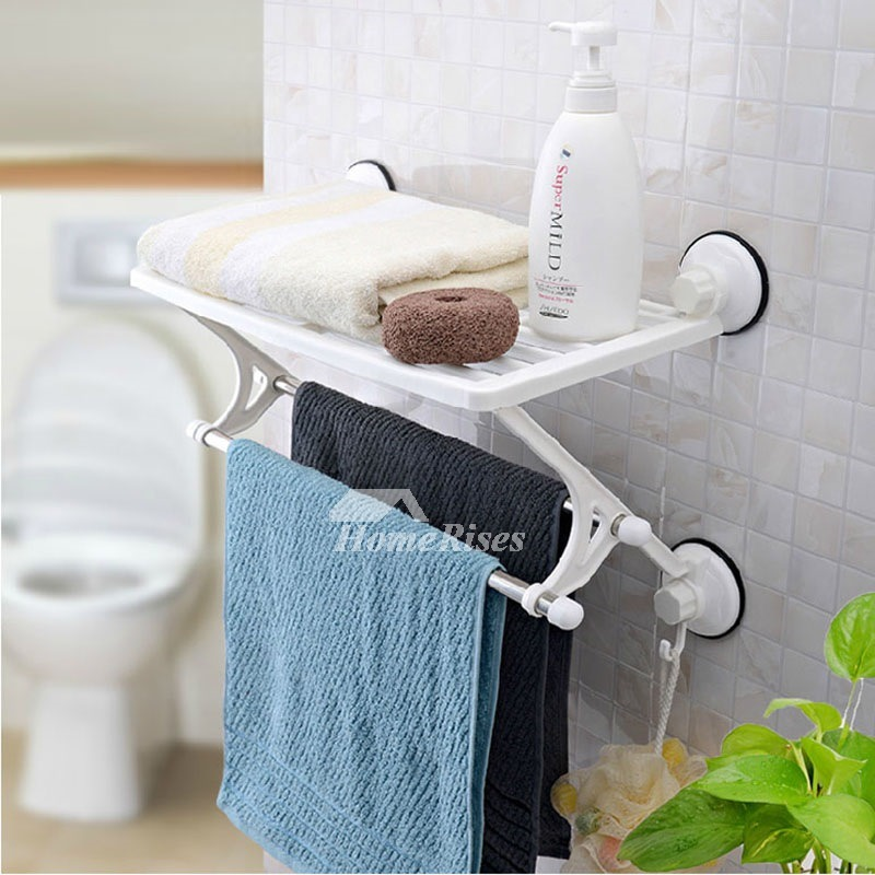 SQ Stainless Towel Rack PVC PP Suction Cup Painting White