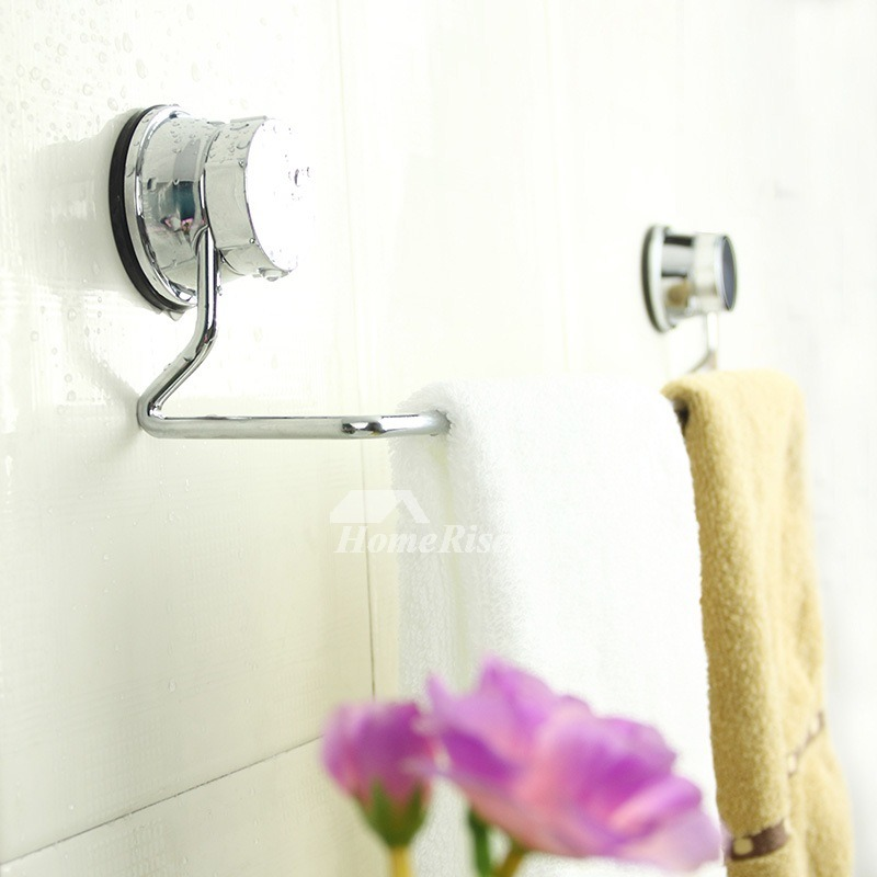 no drill suction cup chrome metal towel bar for bathroom. Black Bedroom Furniture Sets. Home Design Ideas