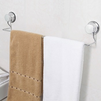 No Drill Suction Cup Chrome Metal Towel Bar For Bathroom