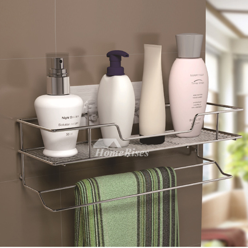 Solid no drill stainless steel metal bathroom shelf bathroom - Bathroom shelves stainless steel ...