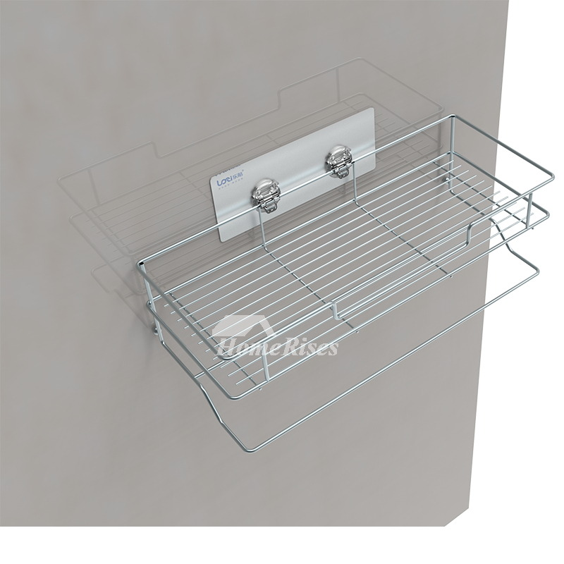 Solid No Drill Stainless Steel Metal Bathroom Shelf Bathroom