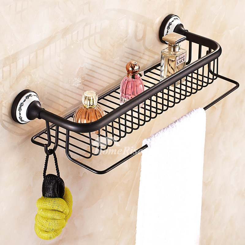 Designer Oil-Rubbed Bronze Wall Mounted Bathroom Shelves