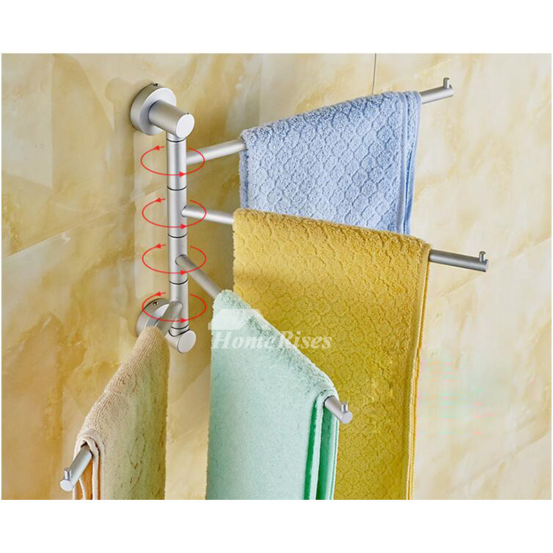 Adjustable Towel Rack Aluminum Wall Mount Bathroom