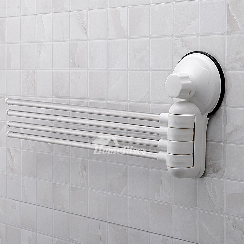 White Towel Rack Suction Cup Swing Arm 4 Poles