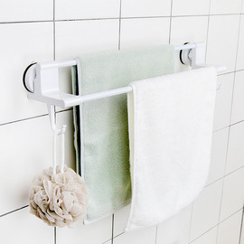 Suction Cup Towel Rack ABS White Painting 2 Poles