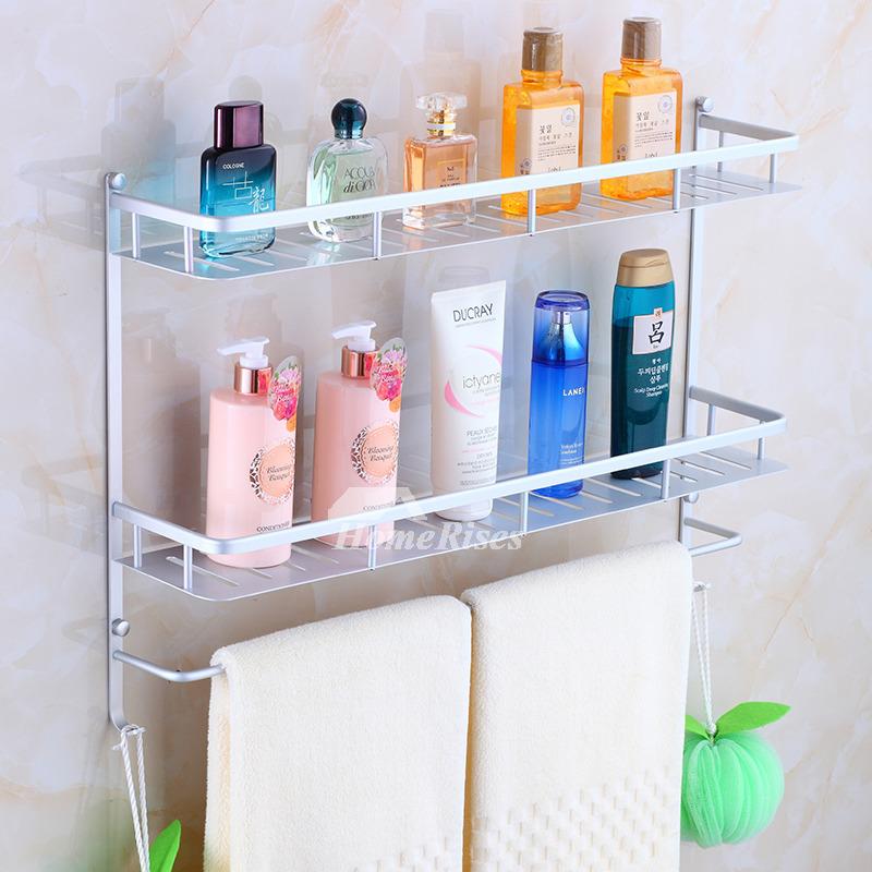 Electroplated Towel Shelf For Bathroom Aluminum Wall Mount