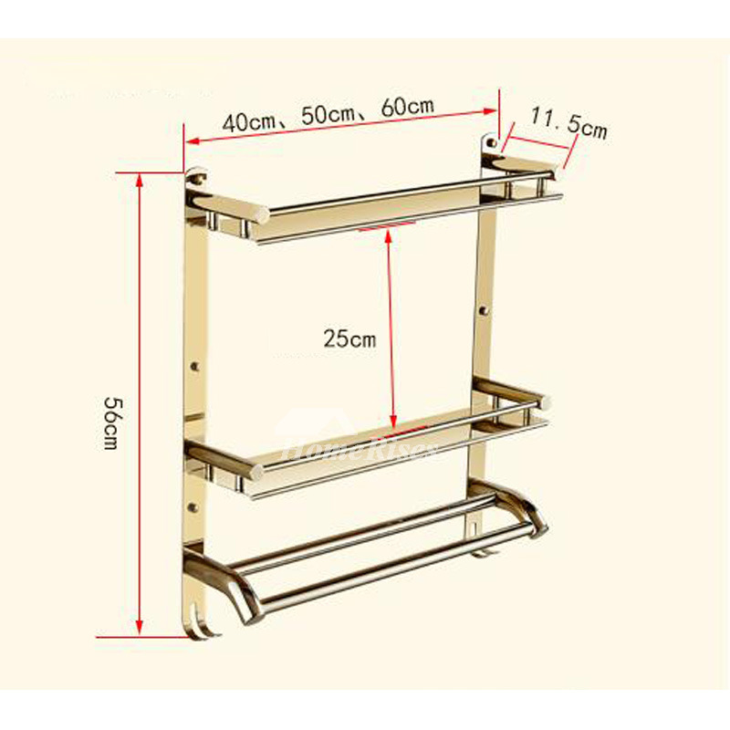 Designer Three Layer Stainless Steel Bathroom Shelves