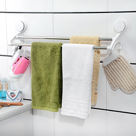 Best 2 Poles Suction Cup Towel Rack Stainless Steel Plastic