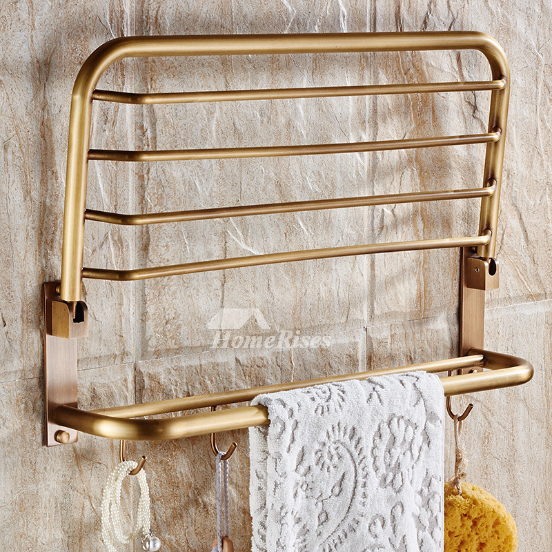 Antique Brass Folding Wall Shelves Bathroom 2 Layer