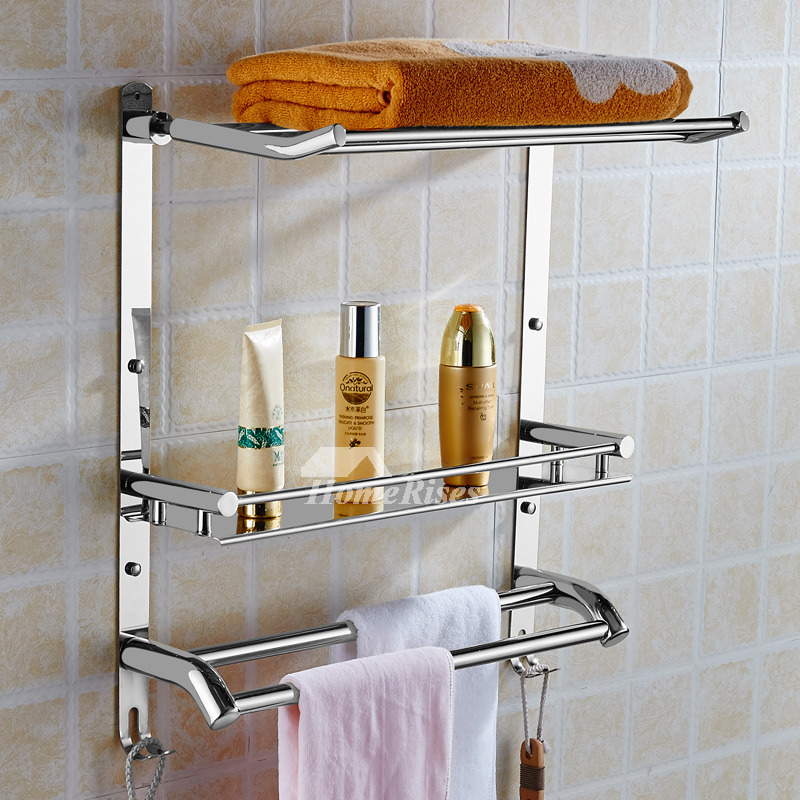 3 layer stainless steel wall bathroom shelves silver gold - Bathroom shelves stainless steel ...