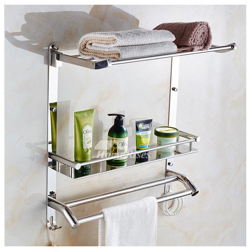 3 layer stainless steel wall bathroom shelves silver gold for Gold and silver bathroom accessories