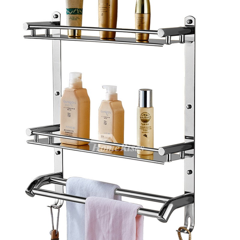 kitchen steel sinks solid stainless steel bathroom shelves 3 layer wall mount 3104