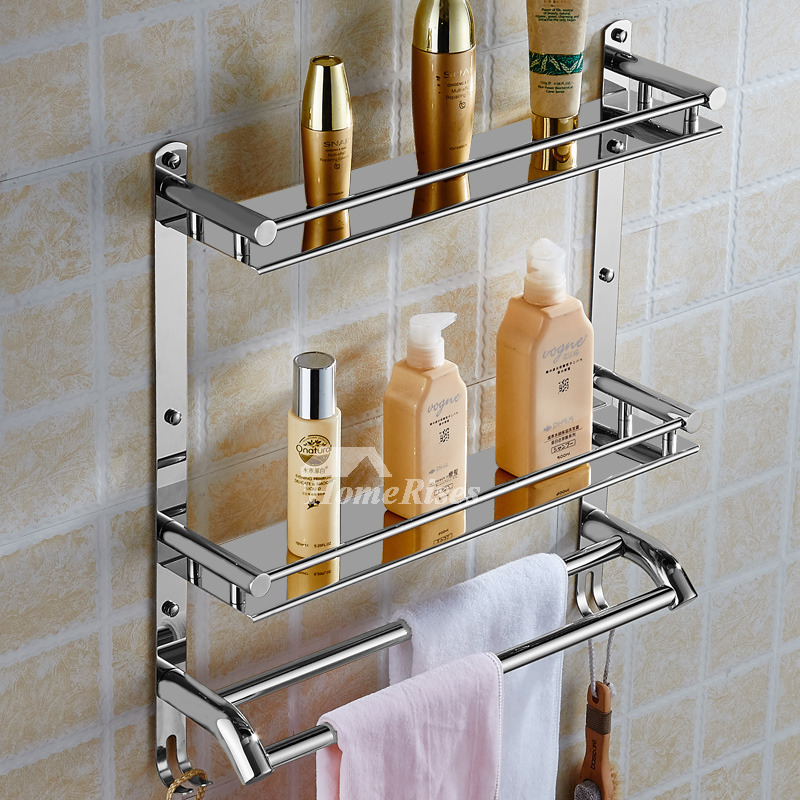 Solid stainless steel bathroom shelves 3 layer wall mount - Bathroom shelves stainless steel ...