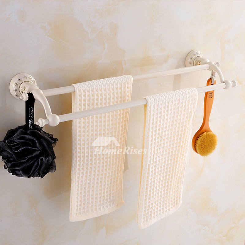 Vintage Carved Wall Mount White Bathroom Towel Rack