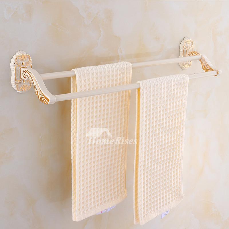 Vintage Carved Wall Mount White Bathroom Towel Rack