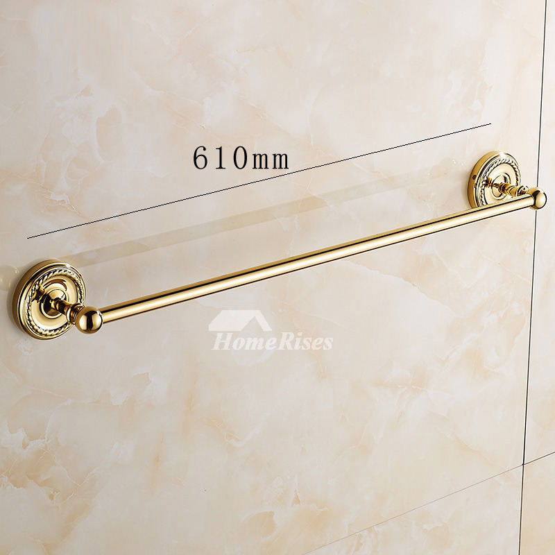 Luxury Polished Brass Towel Bar Single Pole Wall Mount