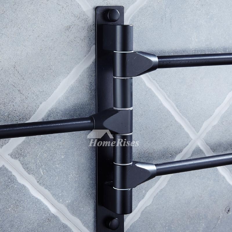 Designer Wall Mounted Swing Arm Black Towel Rack