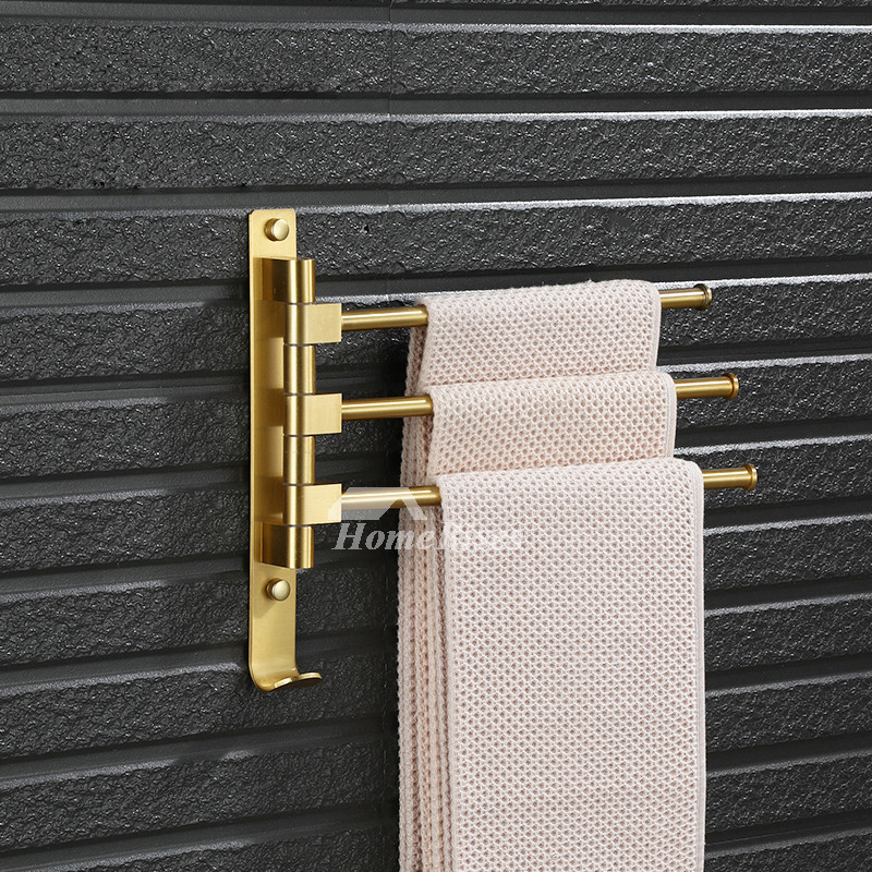Luxury Polished Brass Wall Mount Gold Towel Rack Swing Arm
