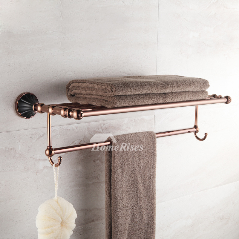 Towel Rack With Hooks Rose Gold Brass Wall Mount