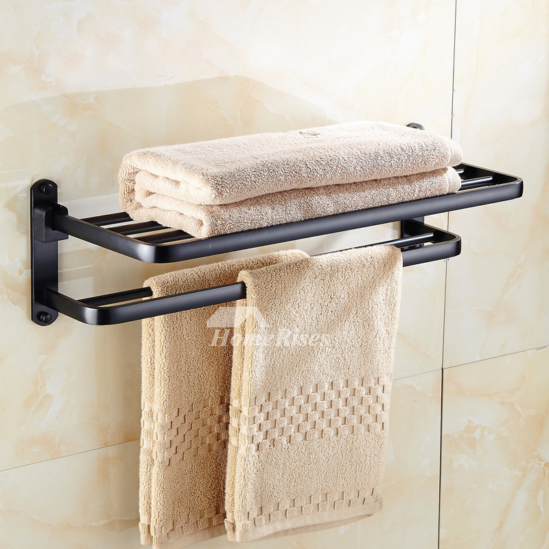 Vintage Oil Rubbed Bronze Towel Rack Aluminum Wall Mount