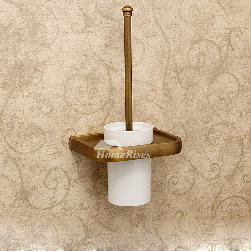 Antique Wall Mounted Toilet Brush Holder Ceramic Brass
