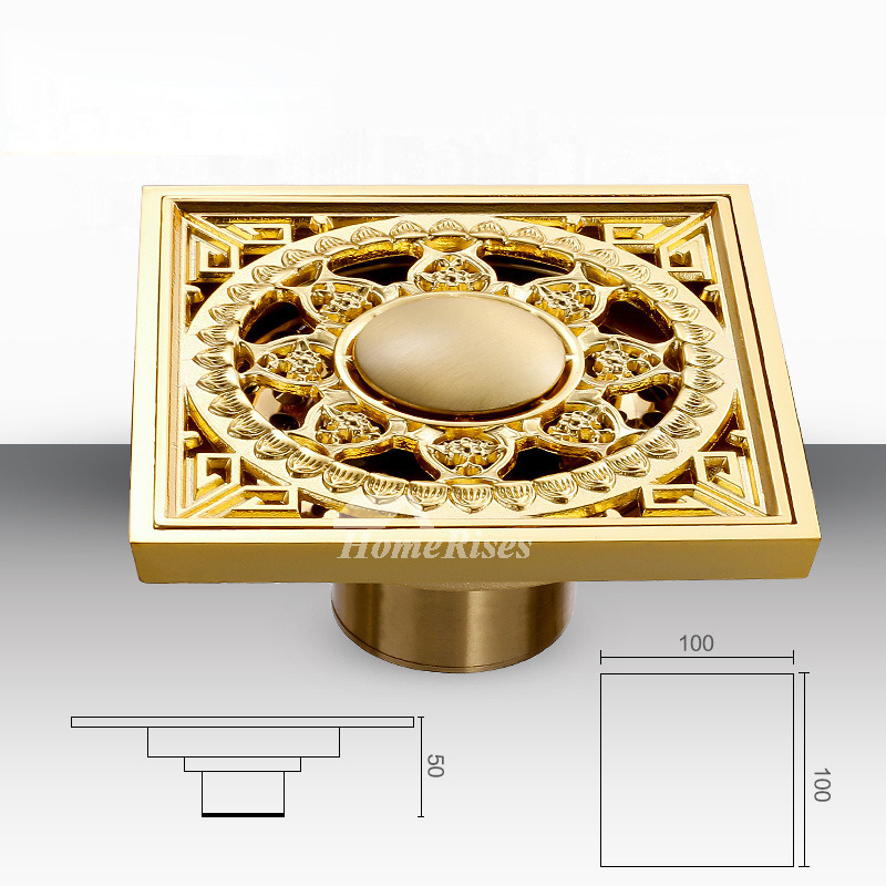 European Carved Brass Shower Drain Square Shaped