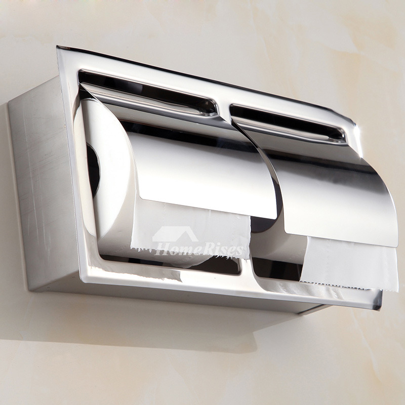 Recessed Toilet Paper Holder Single Double Stainless Steel