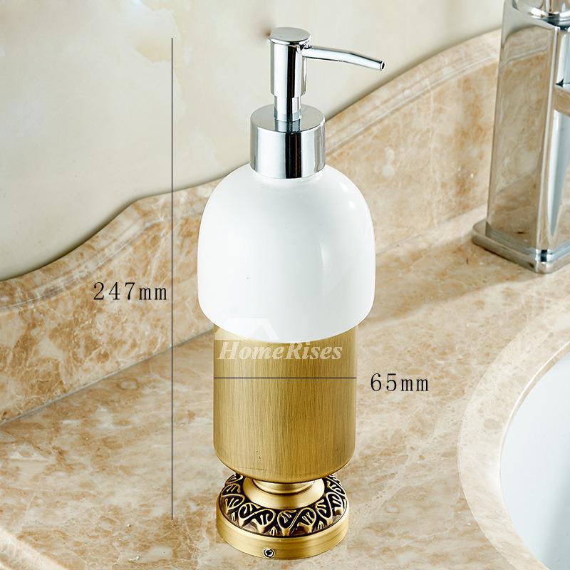 Free Standing Brass Soap Dispenser Ceramic Antique